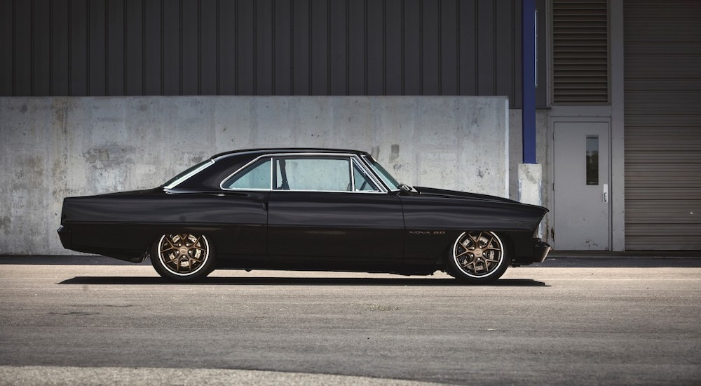 A black 1967 Chevy Nova SEMA 2015 build is shown.