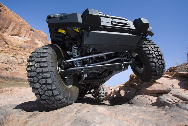 The aftermarket suspension is is shown on a used Jeep Wrangler.