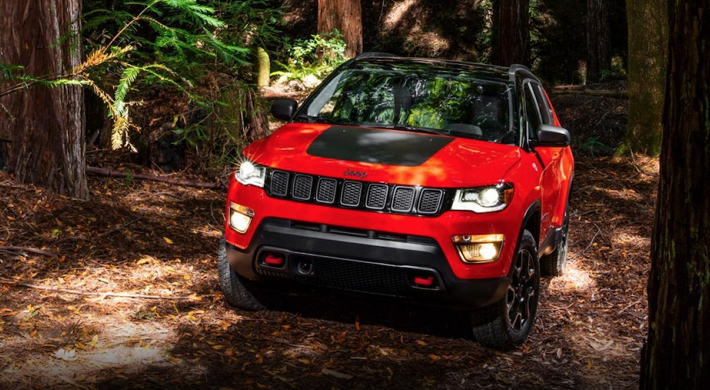 A red and black 2019 Jeep Compass Trailhawk is in the woods. The Trailhawk trim was not available on the 2017 Jeep Patriot.