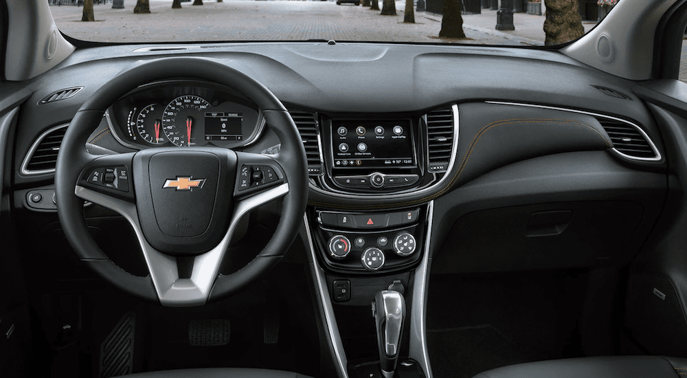 The black interior of a 2018 Chevy Trax