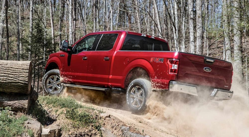 Red 2019 Ford F150 off-roading in woods, kicking up dirt