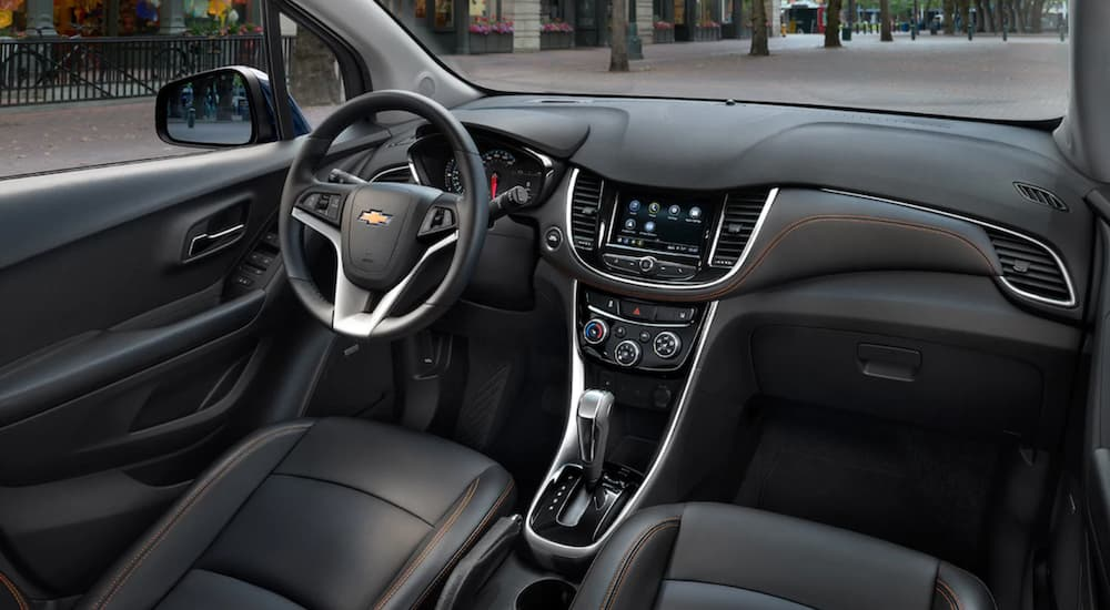 The black interior of a 2019 Chevy Trax is shown, which wins on space when comparing the 2019 Chevy Trax vs 2019 Ford EcoSport.