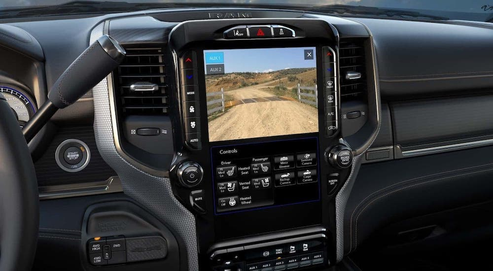 A closeup of the infotainment screen in a 2020 Ram 2500.