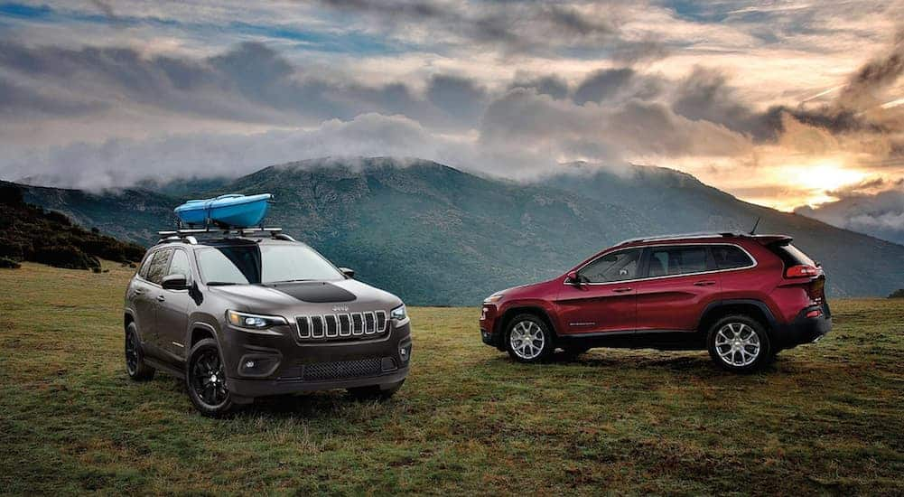 A grey and a red 2020 Jeep Cherokee are parked on grass overlooking mountains.