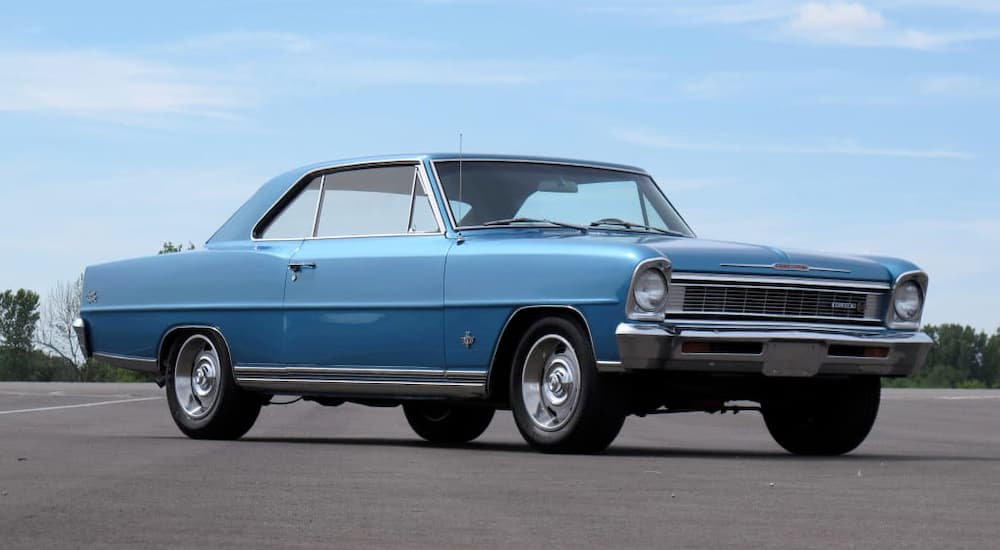 A blue 2966 Chevy Nova is shown. It would be hard to come by one at a Chevy dealership.