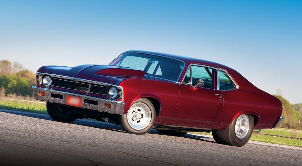 A red 1968 Chevy Nova is shown on an angle.