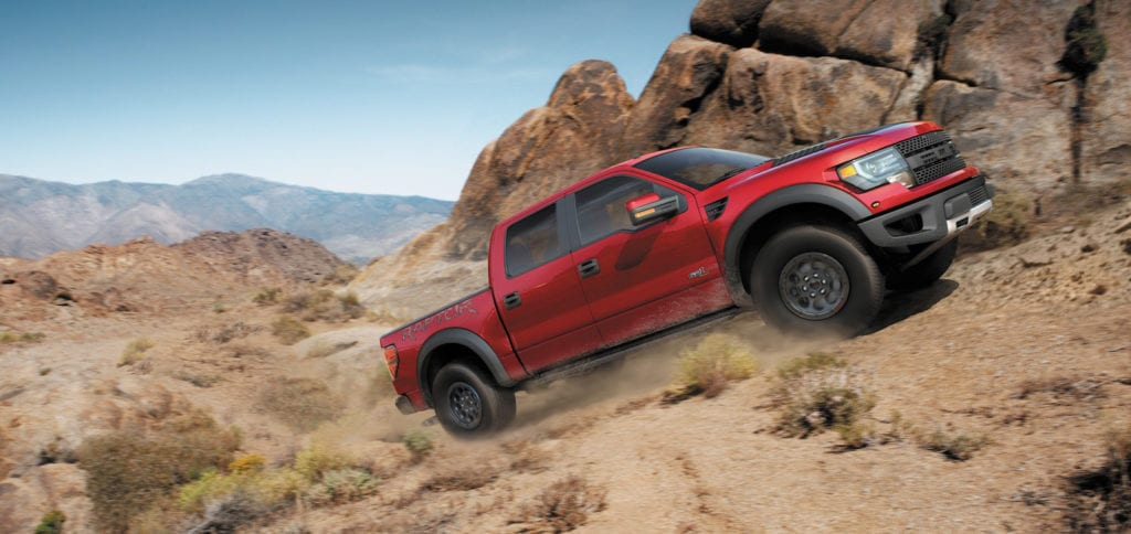 2014 F-150 SVT Raptor Special Edition: Ford announces the 2014 F-150 SVT Raptor Special Edition, which adds unique new touches to the high-performing off-road pickup truck - including a unique new exterior color, Ruby Red Metallic, upgraded interior and custom exterior graphics. (04/09/2013)