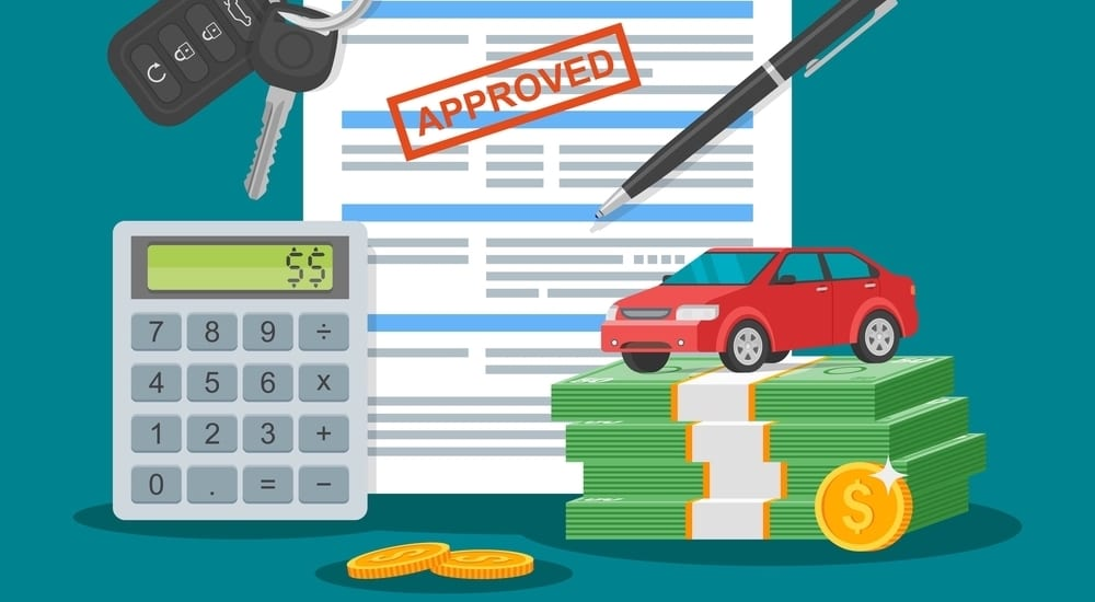 Approved car loan vector illustration. Buying car concept. Auto keys, car model, money, application form.
