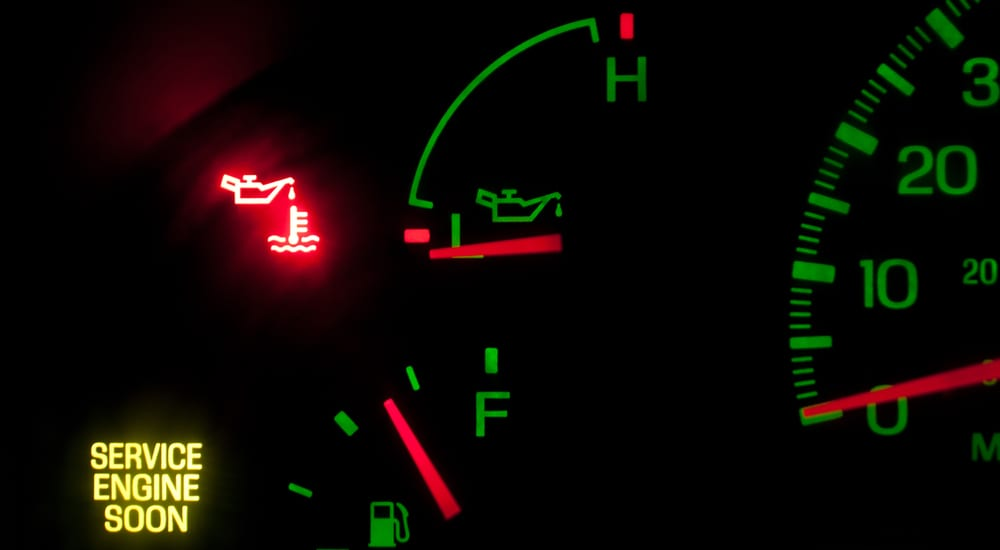 Warning lights on a Ford showing an Oil Change is needed
