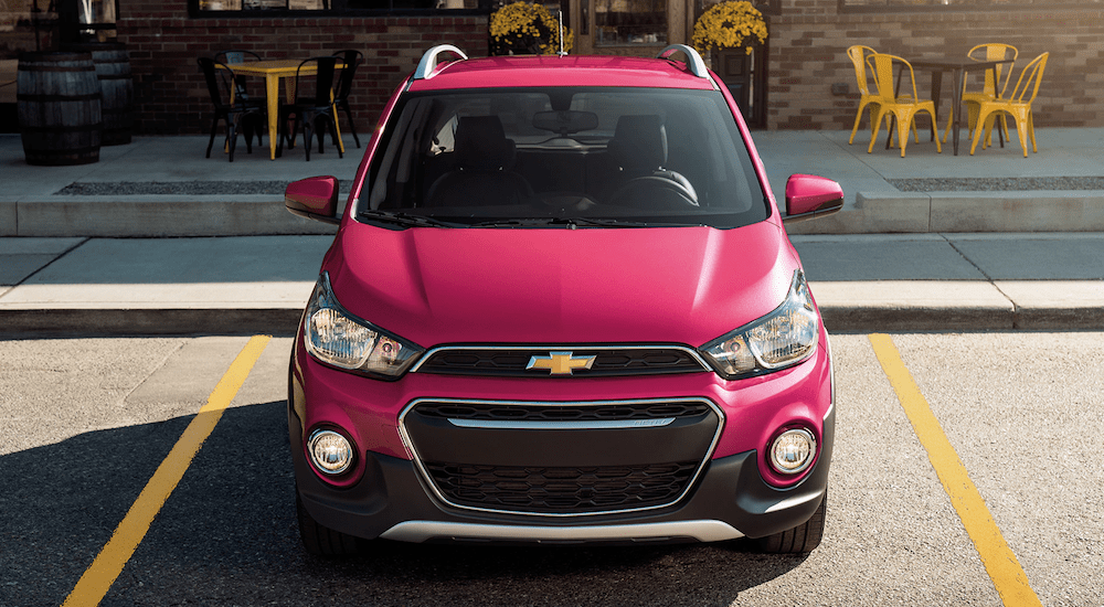 A red 2019 Chevy Spark Activ from the front