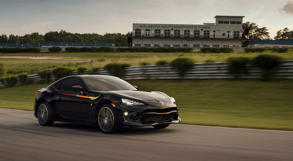 A black 2019 Toyota 86 TRD on a racetrack
