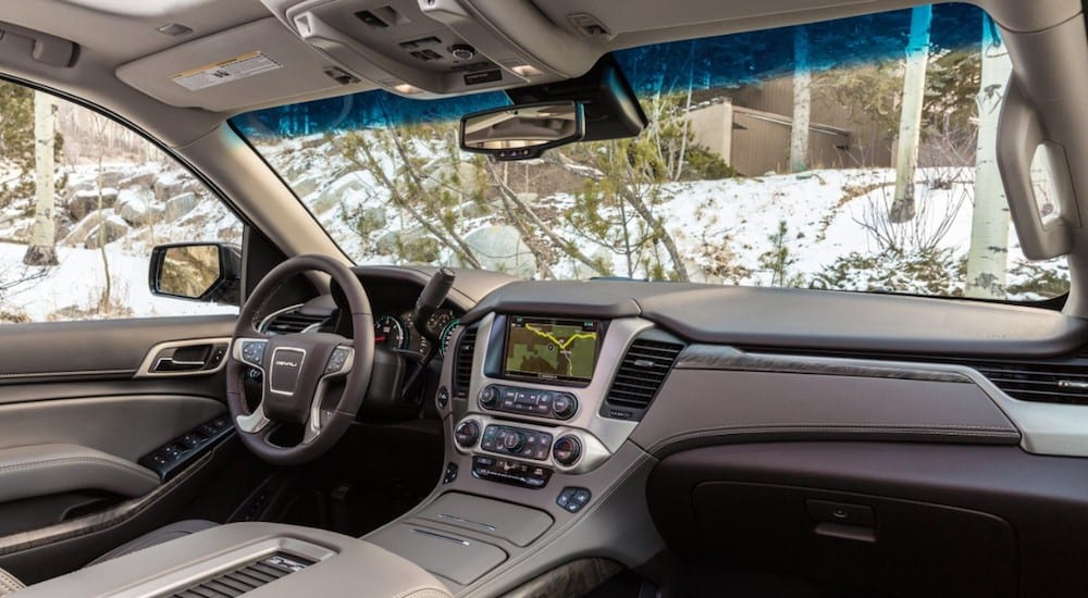 A luxurious and high tech interior of a 2019 GMC Yukon Denali