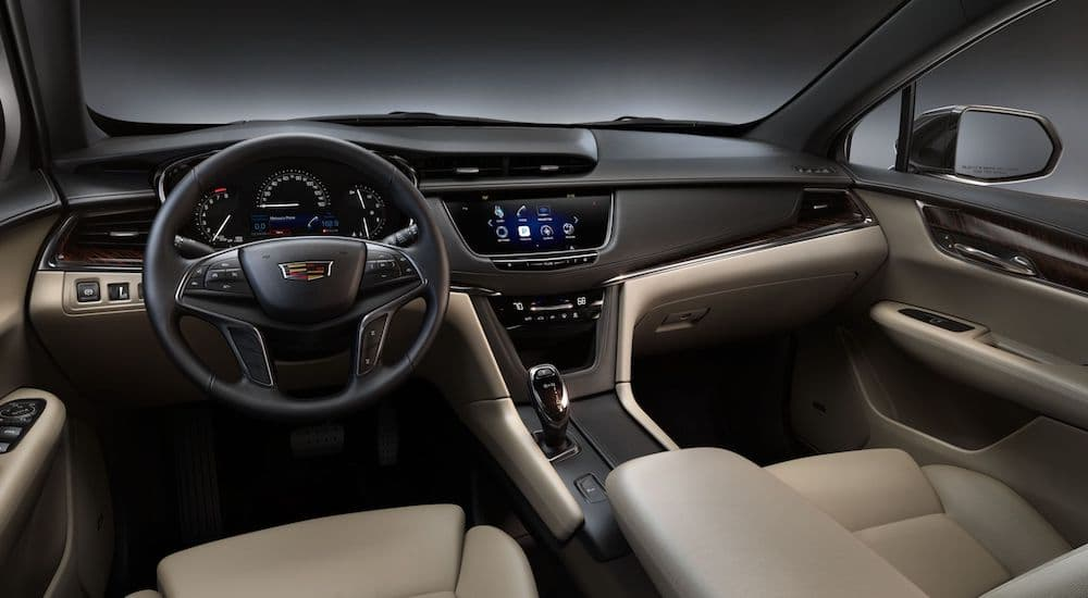 An inside look at the interior of the brand new XT5 is shown.