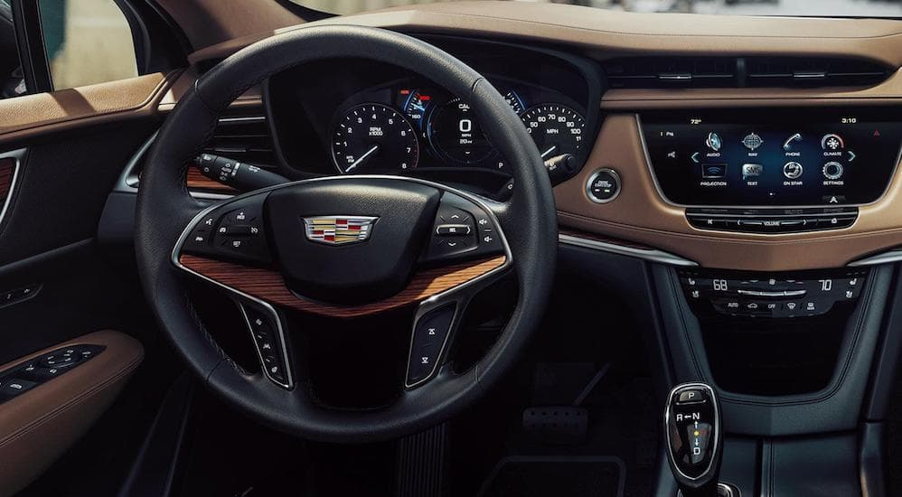 """A closer look at the steering wheel controls and the 8"""" touch screen"""