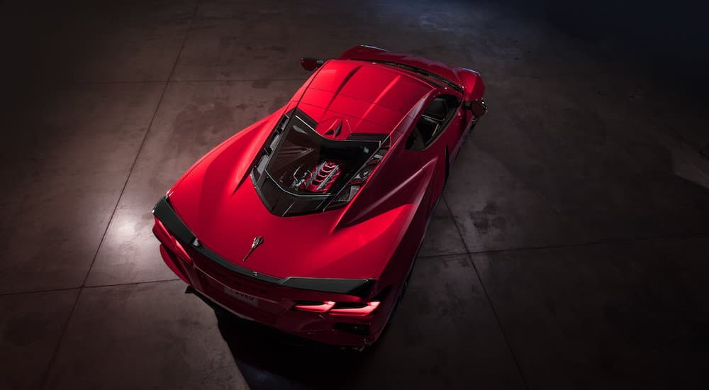 A bird's eye view of a red 2020 Chevy Corvette, which wins when comparing the 2020 Chevy Corvette vs 2019 Chevy Corvette, is shown.