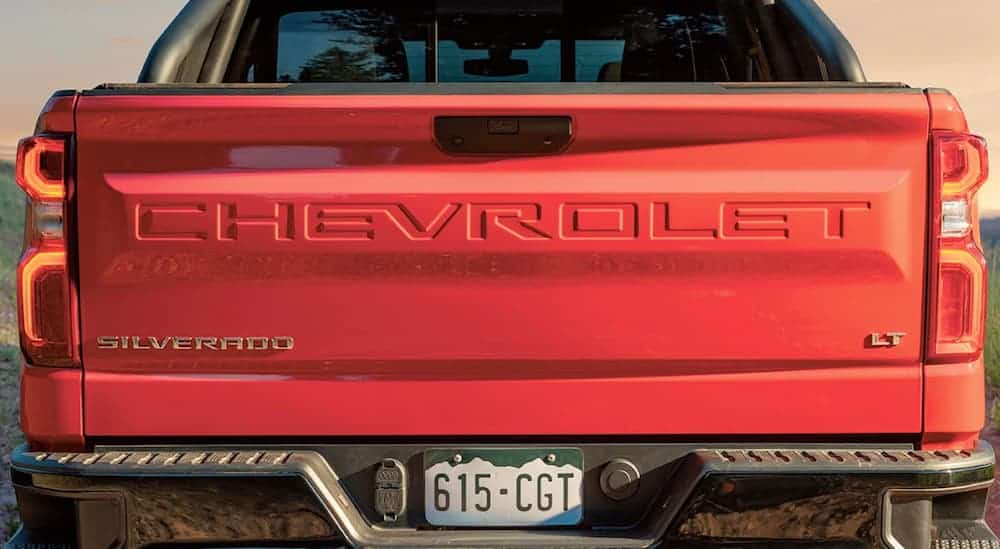 The red tailgate of a 2020 Chevy Silverado is shown.