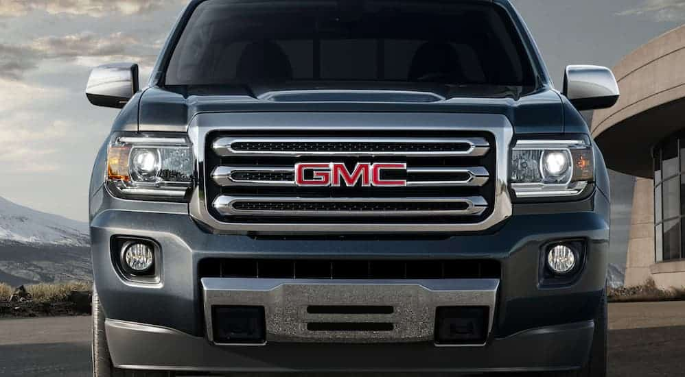A close up of the front end of a 2020 GMC Canyon is shown.