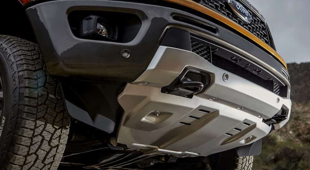 A close up of the silver front skid plate on a 2020 Ford Ranger is shown.