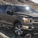 A grey 2020 Ford F-150 is parked in a grassy field with mountains in the background.