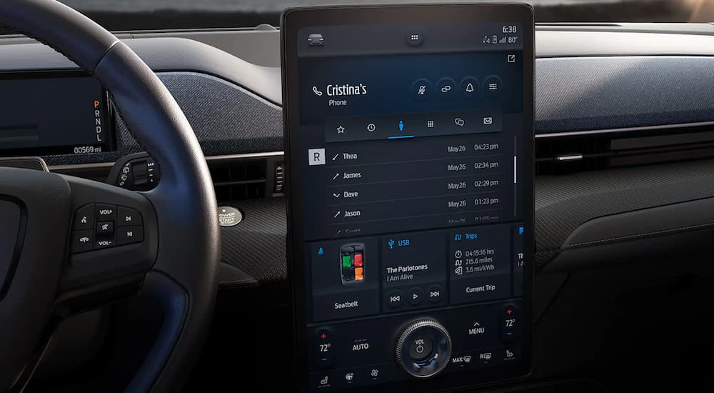 A close up of the large infotainment screen inside of the 2021 Ford Mustang Mach-E is shown.