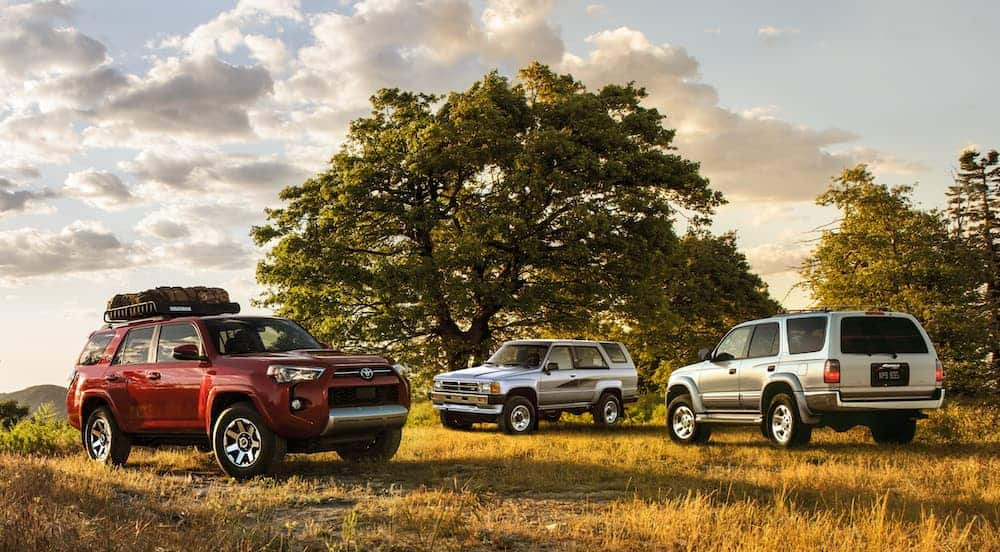 A red 2020 Toyota 4Runner is parked in front of trees with two older models.
