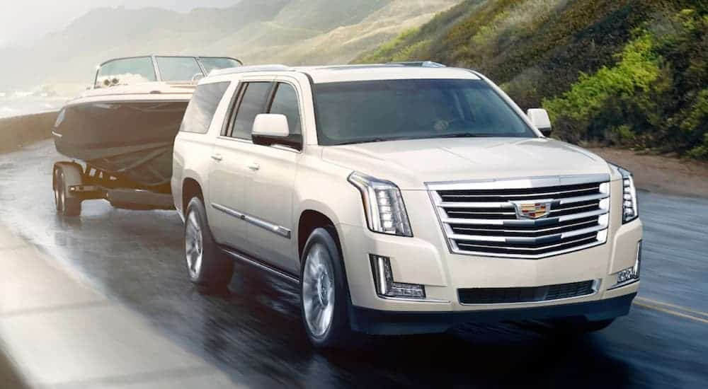 A white 2020 Cadillac Escalade is towing a boat on a winding road.