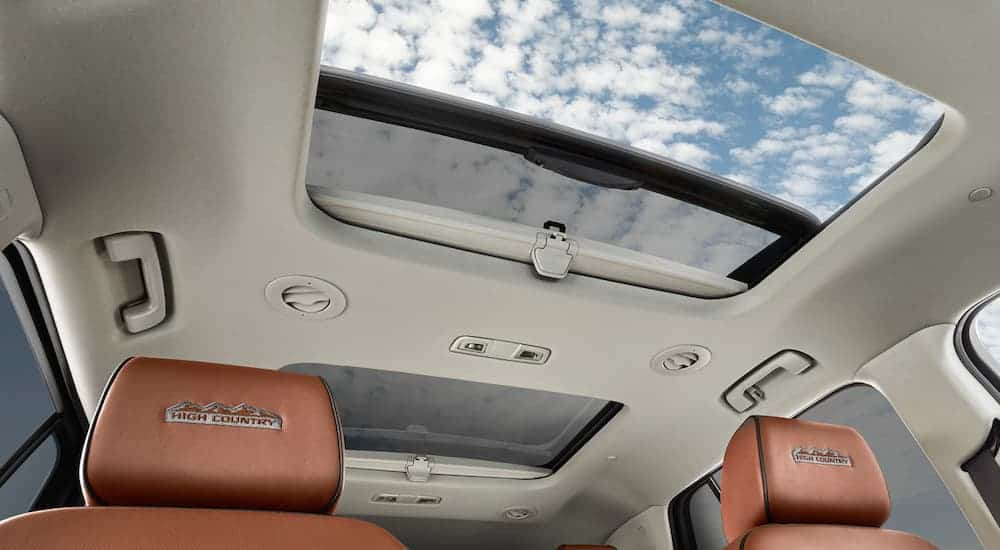 The sun roof in a 2020 Chevy Traverse High Country is shown.