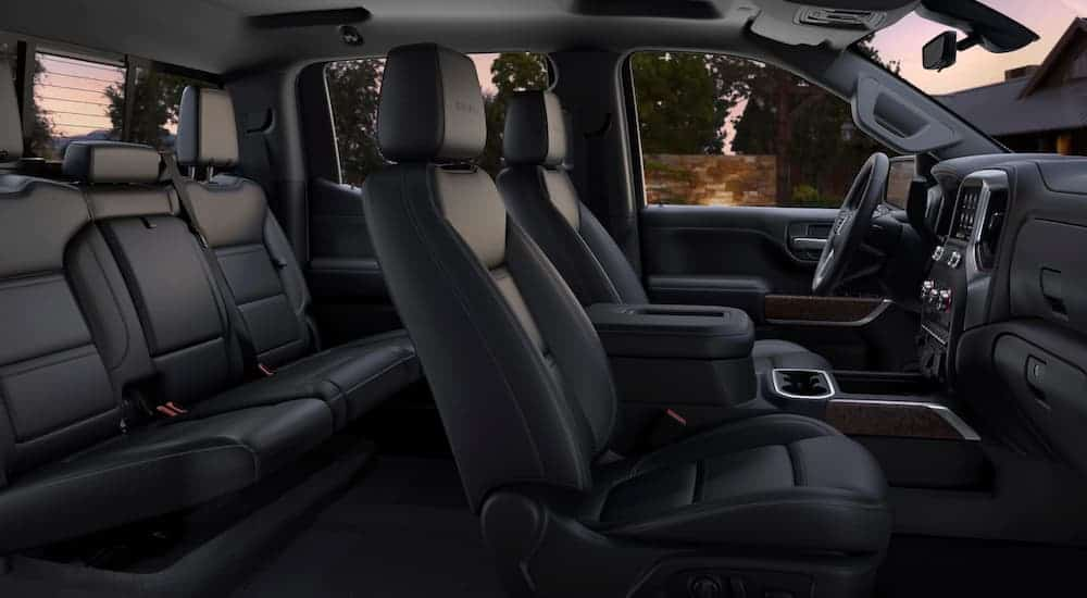 A side view of the black leather of a 2020 GMC Sierra 1500 is shown.