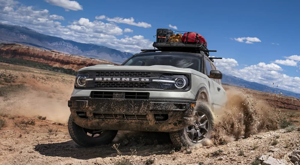 A grey 2021 Ford Bronco Sport is off roading in the desert